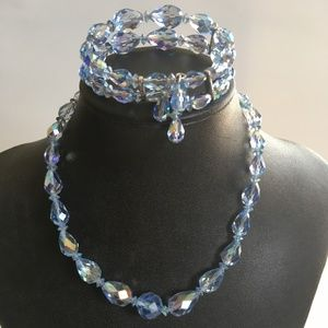 Sherman Blue Crystal Bead Necklace and Bracelet